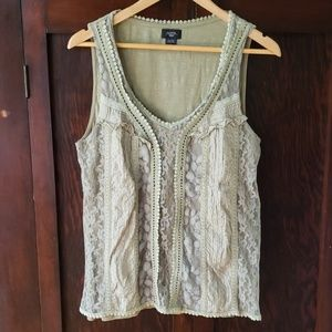 Anthropologie Deletta lace front tank, light olive